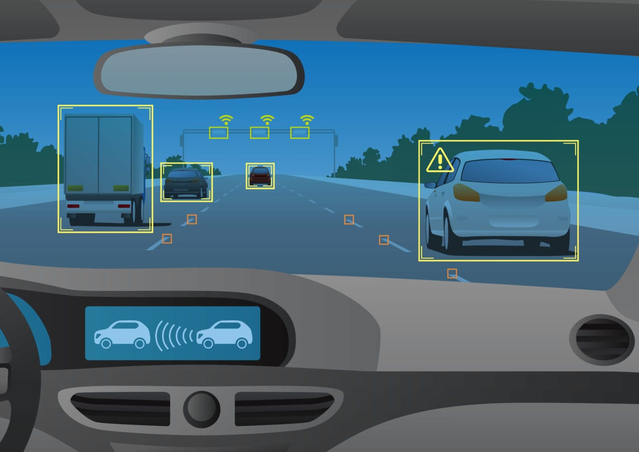 Driving Assist Injury Prevention Technology Illustration with cars on a road and collision warning