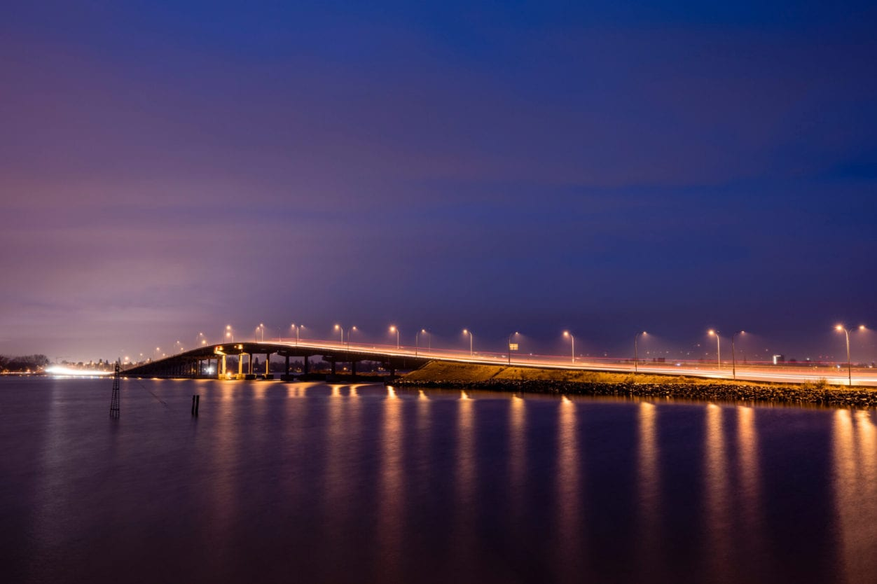 Kelowna Bridge at Night with Lights