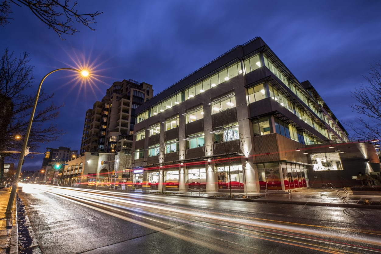 Pihl Law Ellis Street at Night in Kelowna offering a variety of law practices such as construction law