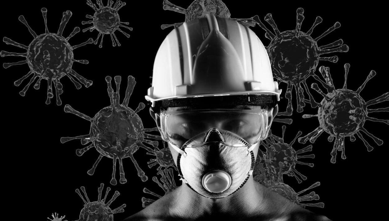 Asian Man wear N95 surgical mask and safety goggle glasses equipment to protect from virus, covid. Monochrome black and white concept protector fight against 3d render coronavirus or covid-19
