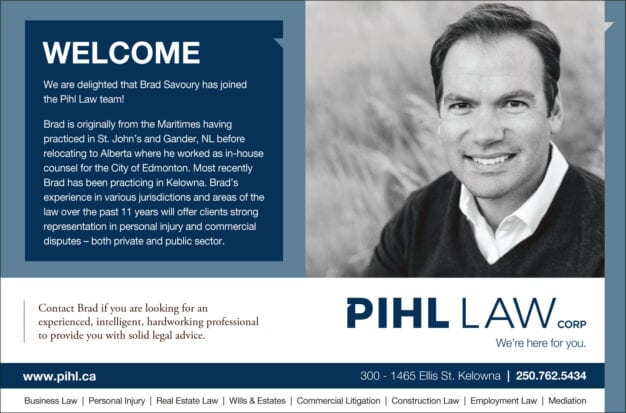 Welcome notice with headshot for Brad Savoury to the Pihl Law team, offering experience in personal injury cases and commercial disputes